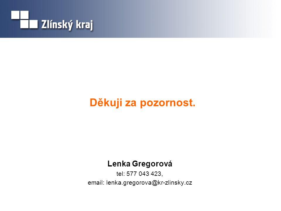 Děkuji za pozornost. Lenka Gregorová tel: 577 043 423, email: lenka.gregorova@kr-zlinsky.cz