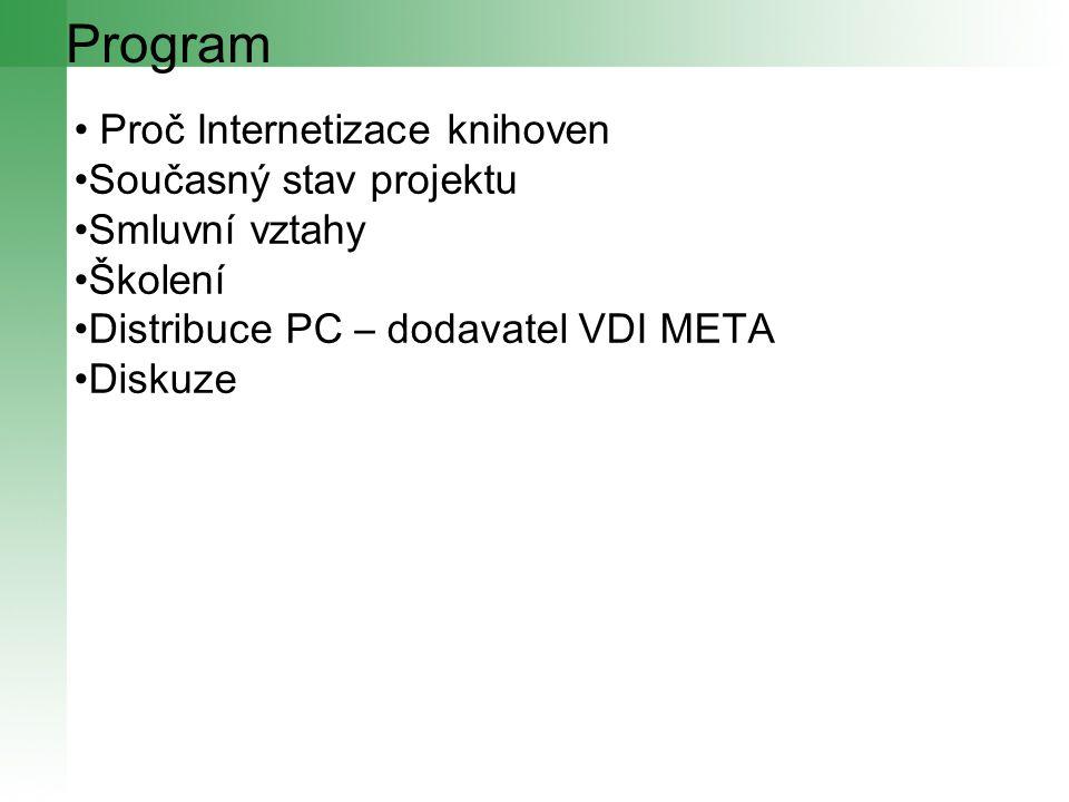 Program Proč Internetizace knihoven Současný stav projektu Smluvní vztahy Školení Distribuce PC – dodavatel VDI META Diskuze