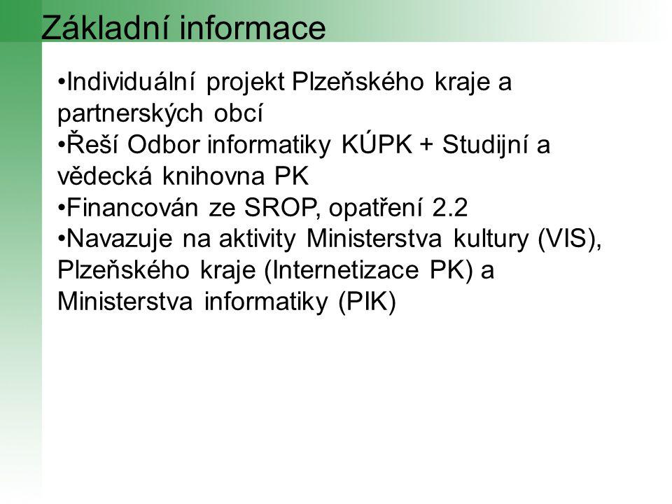 Základní informace Individuální projekt Plzeňského kraje a partnerských obcí Řeší Odbor informatiky KÚPK + Studijní a vědecká knihovna PK Financován z