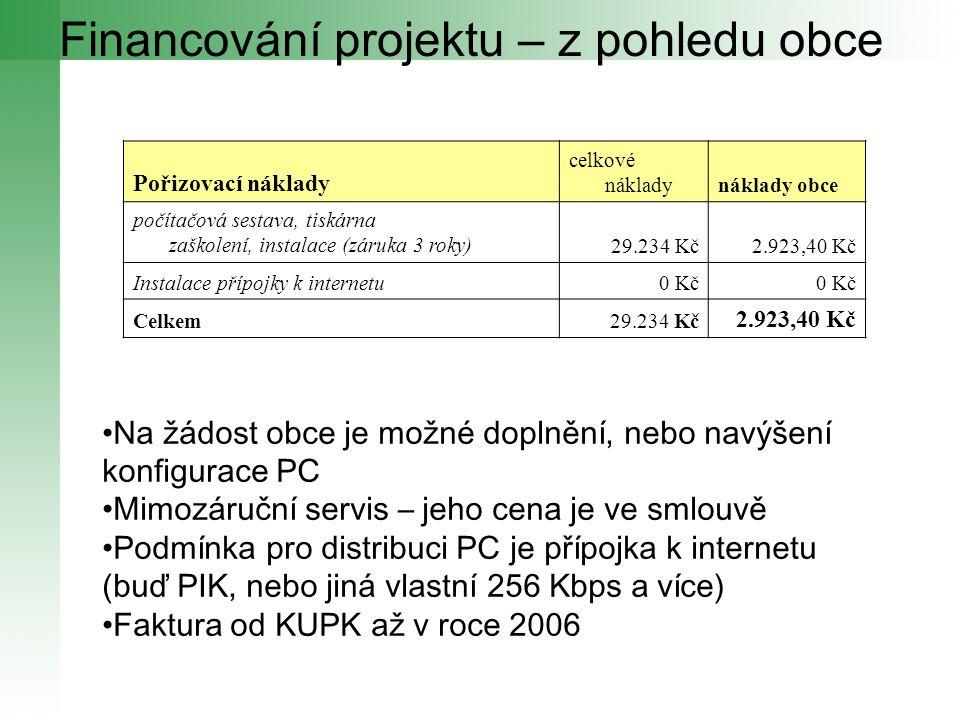 Financování projektu – z pohledu obce Pořizovací náklady celkové nákladynáklady obce počítačová sestava, tiskárna zaškolení, instalace (záruka 3 roky)