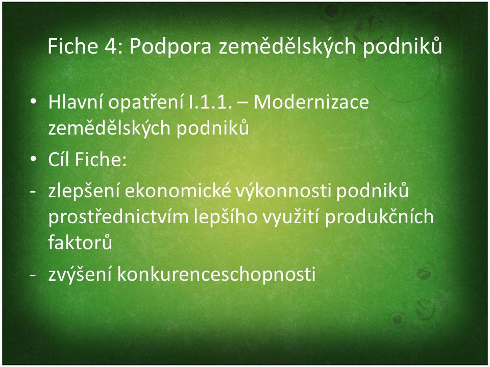 Fiche 4: Podpora zemědělských podniků Hlavní opatření I.1.1.
