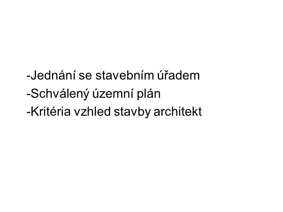 -Jednání se stavebním úřadem -Schválený územní plán -Kritéria vzhled stavby architekt