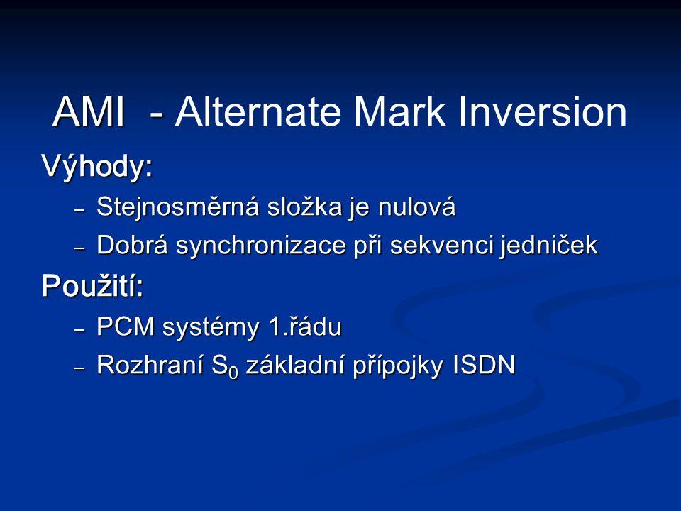 Výhody: – Stejnosměrná složka je nulová – Dobrá synchronizace při sekvenci jedniček Použití: – PCM systémy 1.řádu – Rozhraní S 0 základní přípojky ISD