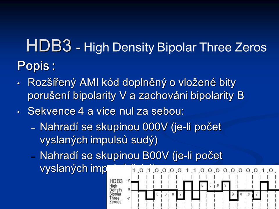 Popis : Rozšířený AMI kód doplněný o vložené bity porušení bipolarity V a zachováni bipolarity B Rozšířený AMI kód doplněný o vložené bity porušení bi