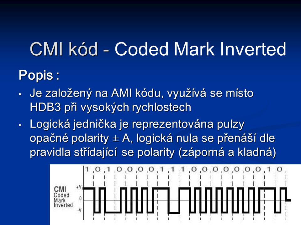 Popis : Je založený na AMI kódu, využívá se místo HDB3 při vysokých rychlostech Je založený na AMI kódu, využívá se místo HDB3 při vysokých rychlostec