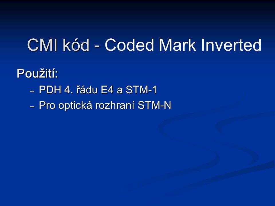 Použití: – PDH 4. řádu E4 a STM-1 – Pro optická rozhraní STM-N CMI kód - CMI kód - Coded Mark Inverted