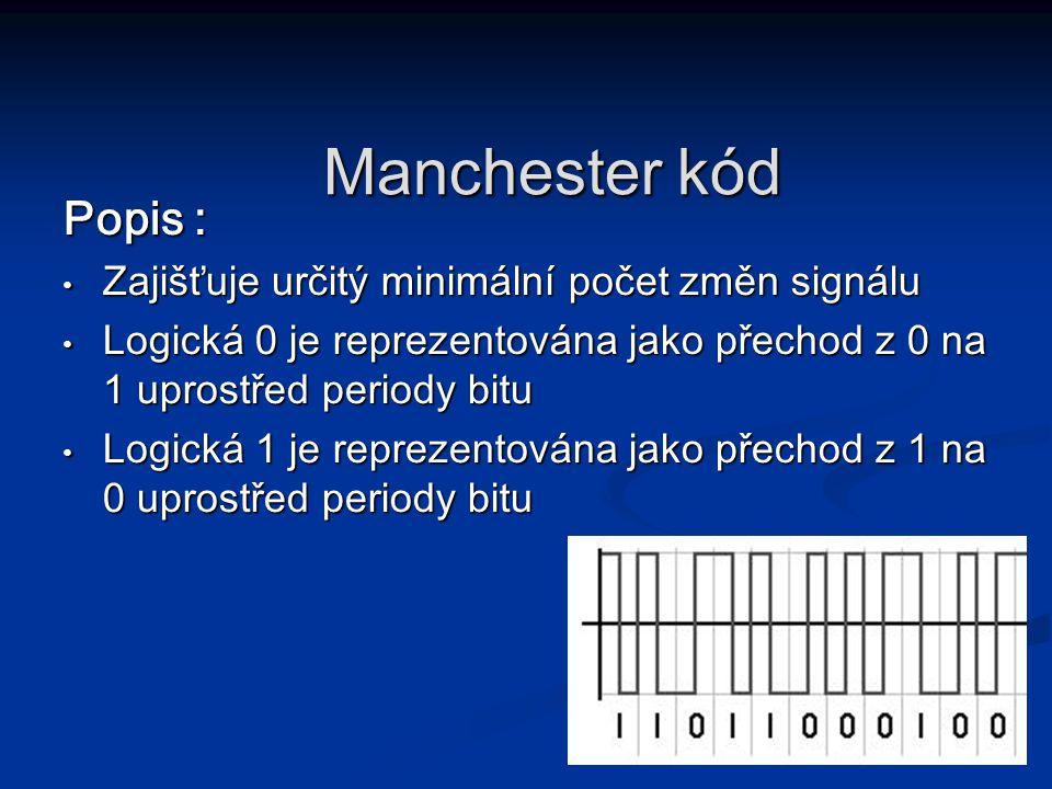 Popis : Zajišťuje určitý minimální počet změn signálu Zajišťuje určitý minimální počet změn signálu Logická 0 je reprezentována jako přechod z 0 na 1