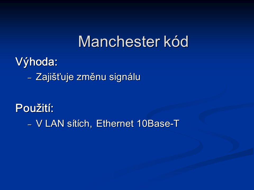 Výhoda: – Zajišťuje změnu signálu Použití: – V LAN sítích, Ethernet 10Base-T Manchester kód