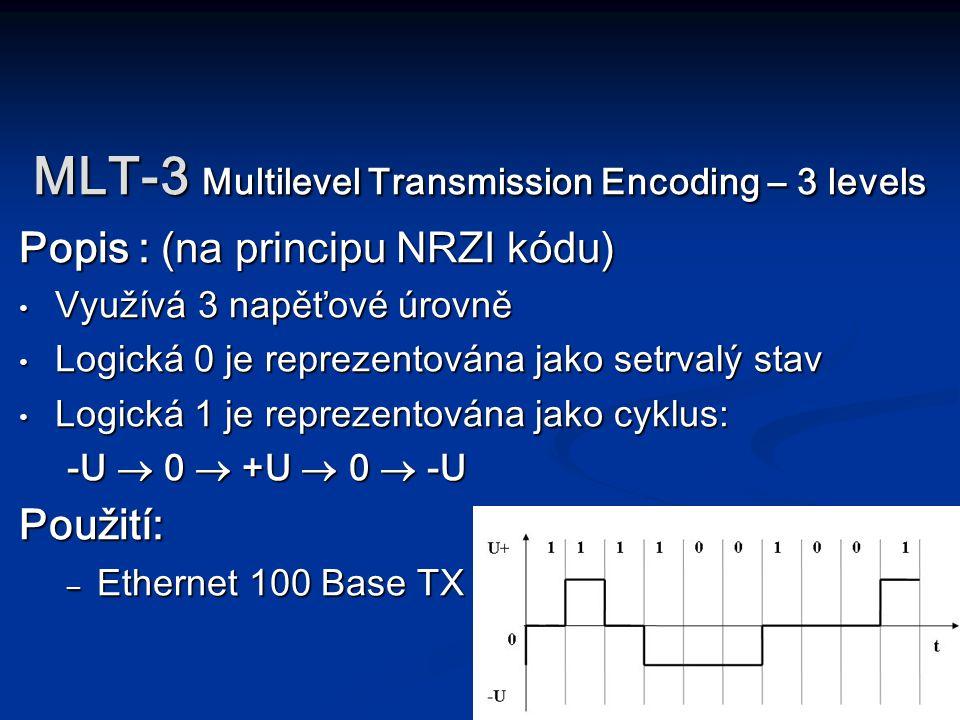 MLT-3 Multilevel Transmission Encoding – 3 levels Popis : (na principu NRZI kódu) Využívá 3 napěťové úrovně Využívá 3 napěťové úrovně Logická 0 je rep