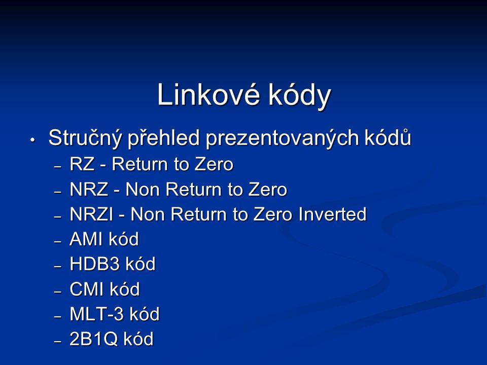 Linkové kódy Stručný přehled prezentovaných kódů Stručný přehled prezentovaných kódů – RZ - Return to Zero – NRZ - Non Return to Zero – NRZI - Non Ret