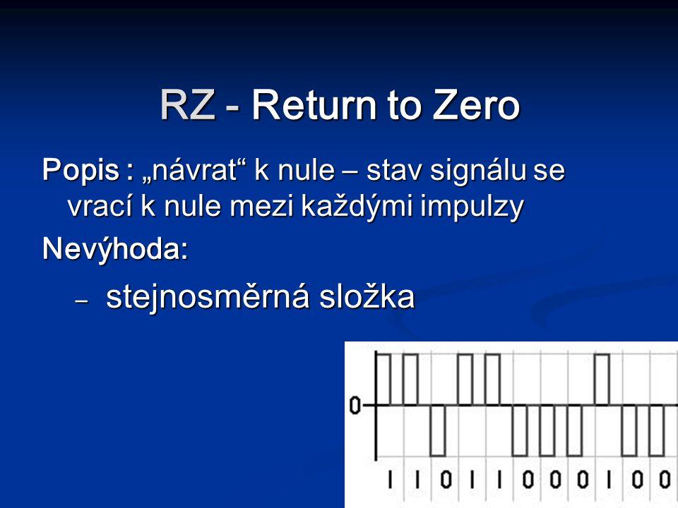 """RZ - Return to Zero Popis : """"návrat"""" k nule – stav signálu se vrací k nule mezi každými impulzy Nevýhoda: – stejnosměrná složka"""