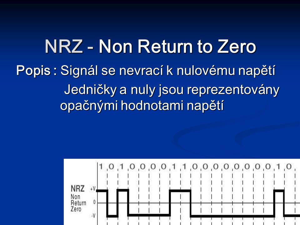 NRZ - Non Return to Zero Popis : Signál se nevrací k nulovému napětí Jedničky a nuly jsou reprezentovány opačnými hodnotami napětí Jedničky a nuly jso
