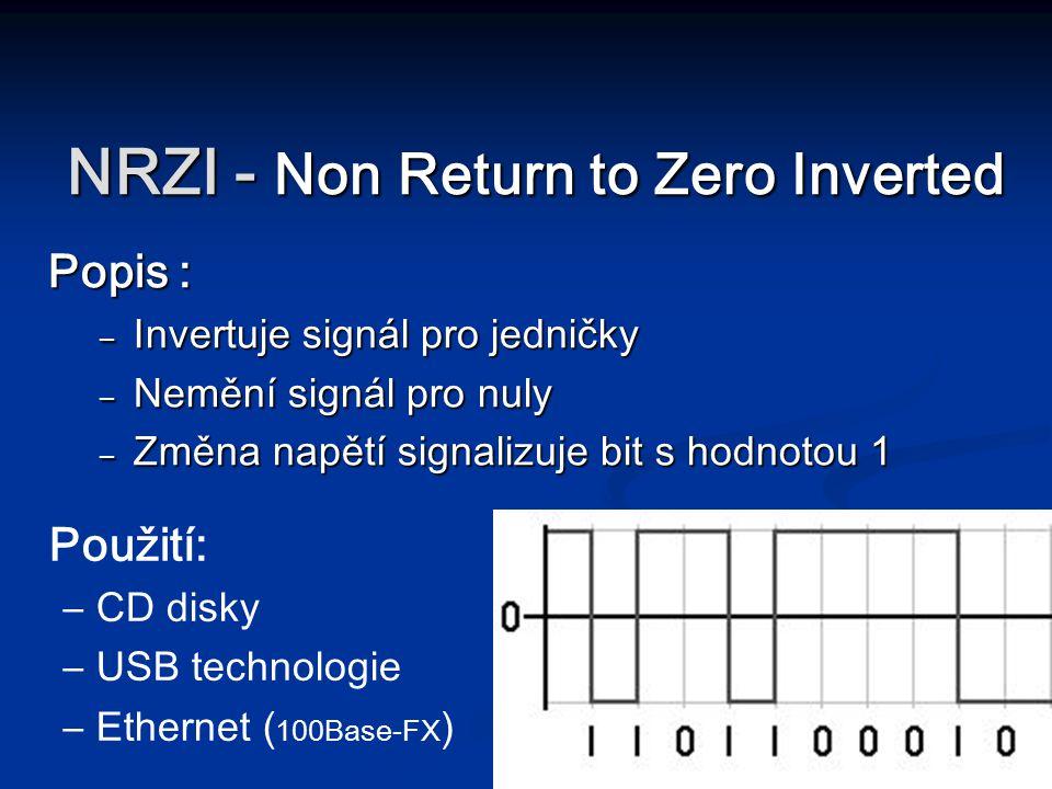 NRZI - Non Return to Zero Inverted Popis : – Invertuje signál pro jedničky – Nemění signál pro nuly – Změna napětí signalizuje bit s hodnotou 1 Použit