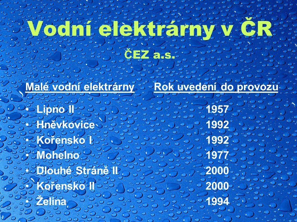 Vodní elektrárny v ČR Č EZ a.s.