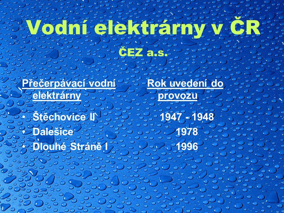 Vodní elektrárny v ČR ČEZ a.s.