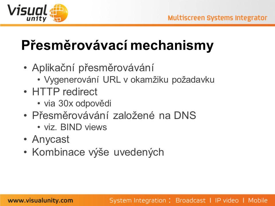 Přesměrovávací mechanismy Aplikační přesměrovávání Vygenerování URL v okamžiku požadavku HTTP redirect via 30x odpovědi Přesměrovávání založené na DNS viz.