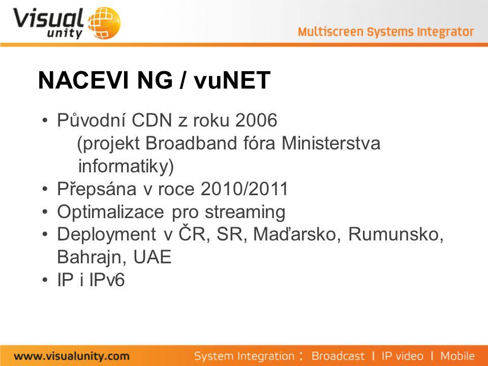 NACEVI NG / vuNET Původní CDN z roku 2006 (projekt Broadband fóra Ministerstva informatiky) Přepsána v roce 2010/2011 Optimalizace pro streaming Deployment v ČR, SR, Maďarsko, Rumunsko, Bahrajn, UAE IP i IPv6
