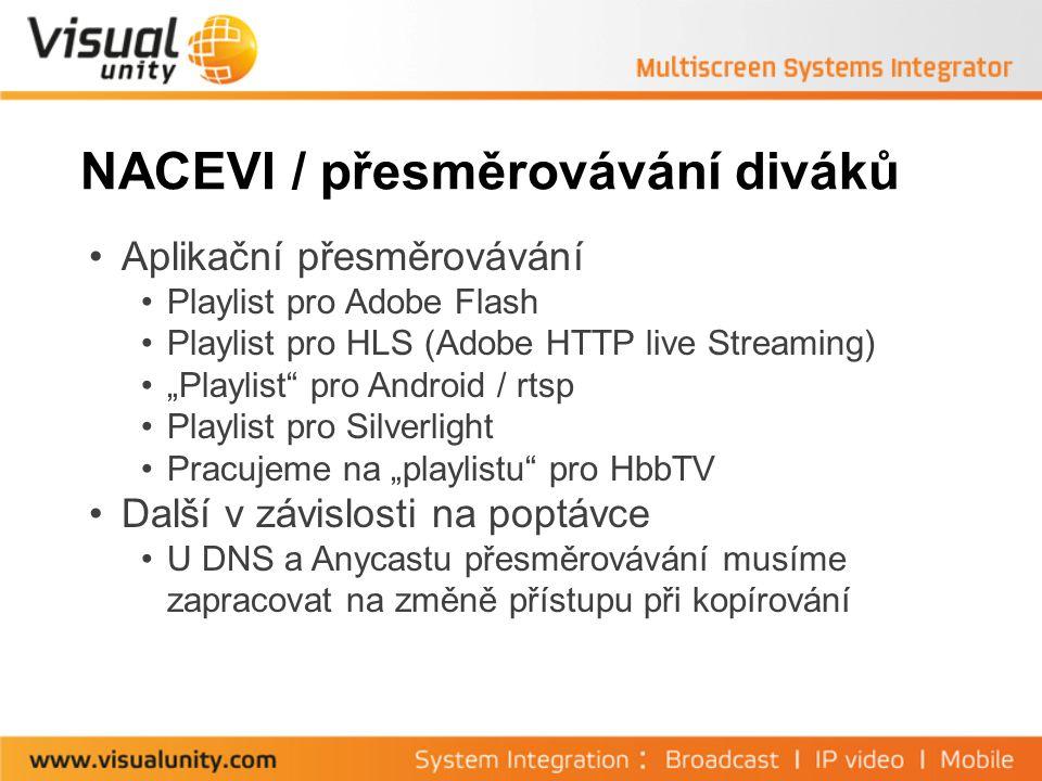 """NACEVI / přesměrovávání diváků Aplikační přesměrovávání Playlist pro Adobe Flash Playlist pro HLS (Adobe HTTP live Streaming) """"Playlist pro Android / rtsp Playlist pro Silverlight Pracujeme na """"playlistu pro HbbTV Další v závislosti na poptávce U DNS a Anycastu přesměrovávání musíme zapracovat na změně přístupu při kopírování"""