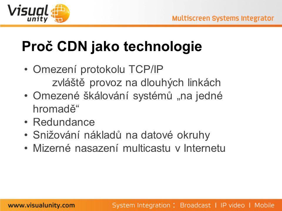 """Proč CDN jako technologie Omezení protokolu TCP/IP zvláště provoz na dlouhých linkách Omezené škálování systémů """"na jedné hromadě Redundance Snižování nákladů na datové okruhy Mizerné nasazení multicastu v Internetu"""