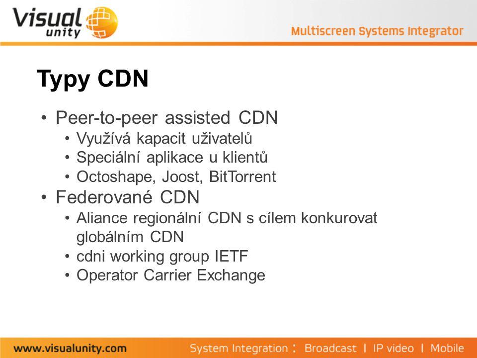 Typy CDN Peer-to-peer assisted CDN Využívá kapacit uživatelů Speciální aplikace u klientů Octoshape, Joost, BitTorrent Federované CDN Aliance regionální CDN s cílem konkurovat globálním CDN cdni working group IETF Operator Carrier Exchange