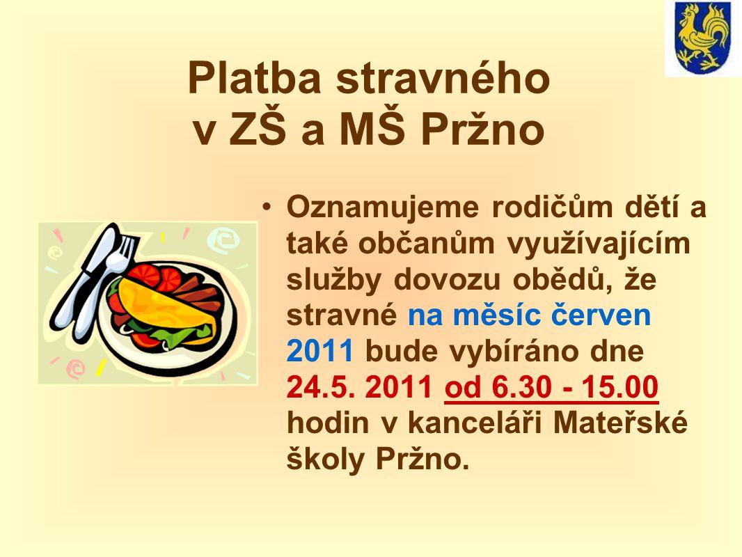 Platba stravného v ZŠ a MŠ Pržno Oznamujeme rodičům dětí a také občanům využívajícím služby dovozu obědů, že stravné na měsíc červen 2011 bude vybíráno dne 24.5.