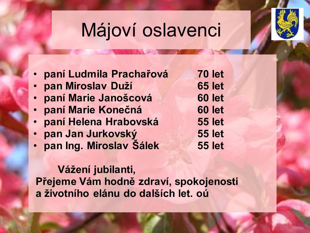Májoví oslavenci paní Ludmila Prachařová70 let pan Miroslav Duží 65 let paní Marie Janošcová60 let paní Marie Konečná60 let paní Helena Hrabovská55 let pan Jan Jurkovský55 let pan Ing.