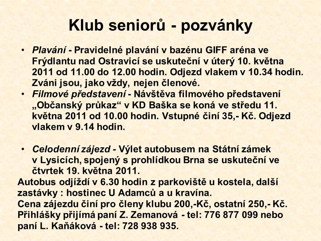 Klub seniorů - pozvánky Plavání - Pravidelné plavání v bazénu GIFF aréna ve Frýdlantu nad Ostravicí se uskuteční v úterý 10.