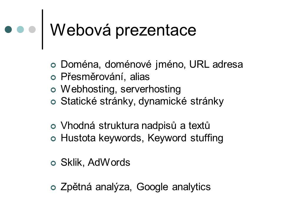 Webová prezentace Doména, doménové jméno, URL adresa Přesměrování, alias Webhosting, serverhosting Statické stránky, dynamické stránky Vhodná struktur