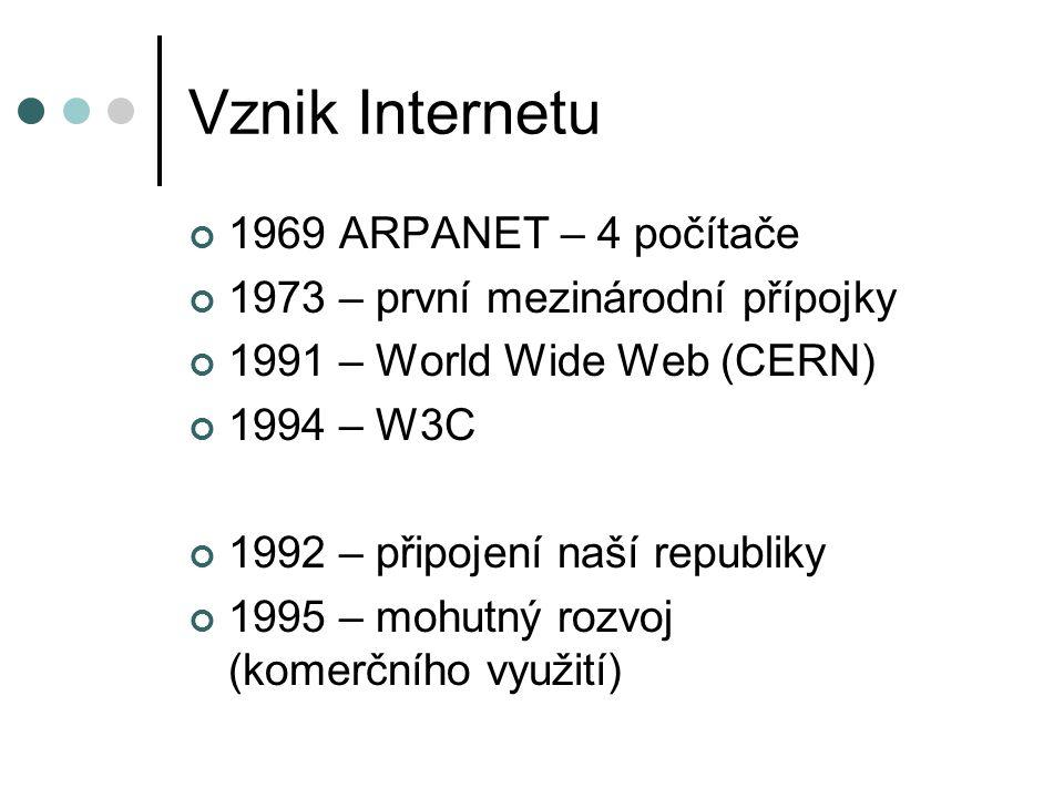 Vznik Internetu 1969 ARPANET – 4 počítače 1973 – první mezinárodní přípojky 1991 – World Wide Web (CERN) 1994 – W3C 1992 – připojení naší republiky 1995 – mohutný rozvoj (komerčního využití)