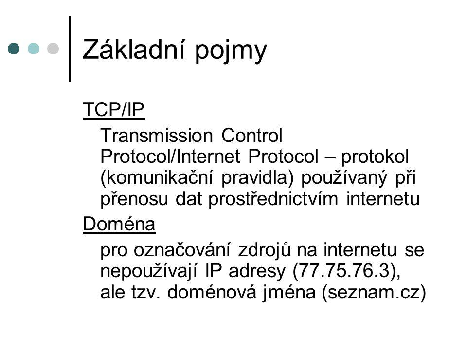 Základní pojmy TCP/IP Transmission Control Protocol/Internet Protocol – protokol (komunikační pravidla) používaný při přenosu dat prostřednictvím internetu Doména pro označování zdrojů na internetu se nepoužívají IP adresy (77.75.76.3), ale tzv.