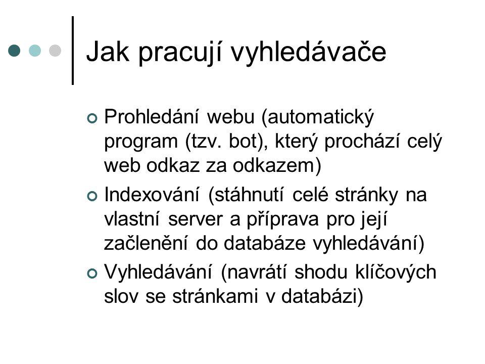 Jak pracují vyhledávače Prohledání webu (automatický program (tzv. bot), který prochází celý web odkaz za odkazem) Indexování (stáhnutí celé stránky n