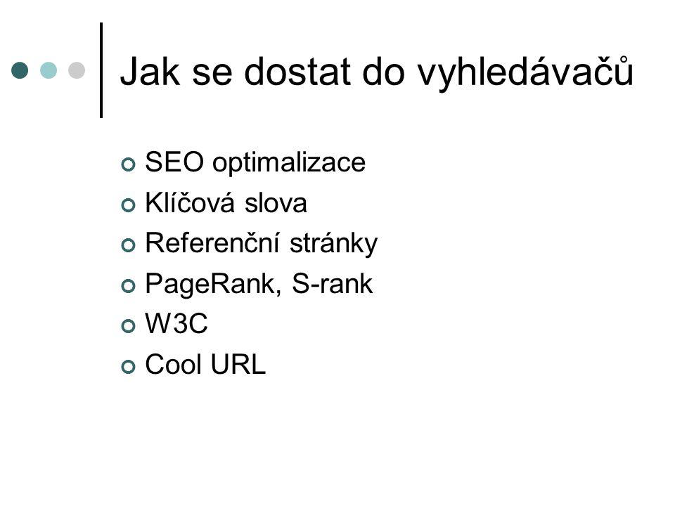 Jak se dostat do vyhledávačů SEO optimalizace Klíčová slova Referenční stránky PageRank, S-rank W3C Cool URL