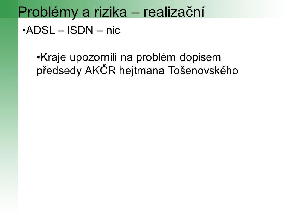 Problémy a rizika – realizační ADSL – ISDN – nic Kraje upozornili na problém dopisem předsedy AKČR hejtmana Tošenovského