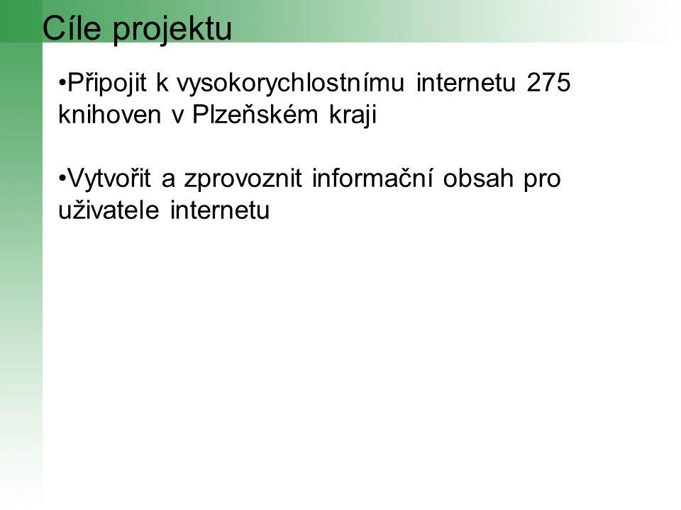 Cíle projektu Připojit k vysokorychlostnímu internetu 275 knihoven v Plzeňském kraji Vytvořit a zprovoznit informační obsah pro uživatele internetu
