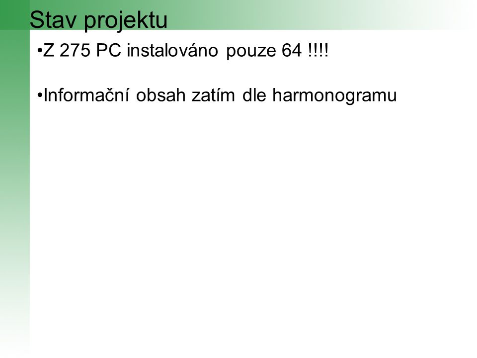 Stav projektu Z 275 PC instalováno pouze 64 !!!! Informační obsah zatím dle harmonogramu