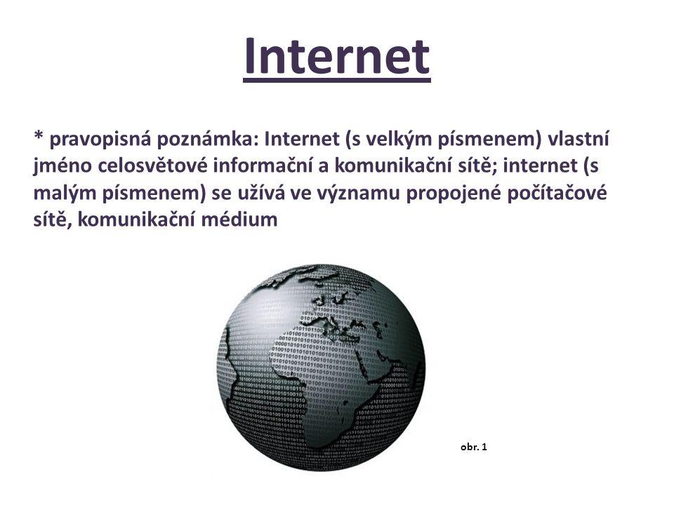 Internet * pravopisná poznámka: Internet (s velkým písmenem) vlastní jméno celosvětové informační a komunikační sítě; internet (s malým písmenem) se u