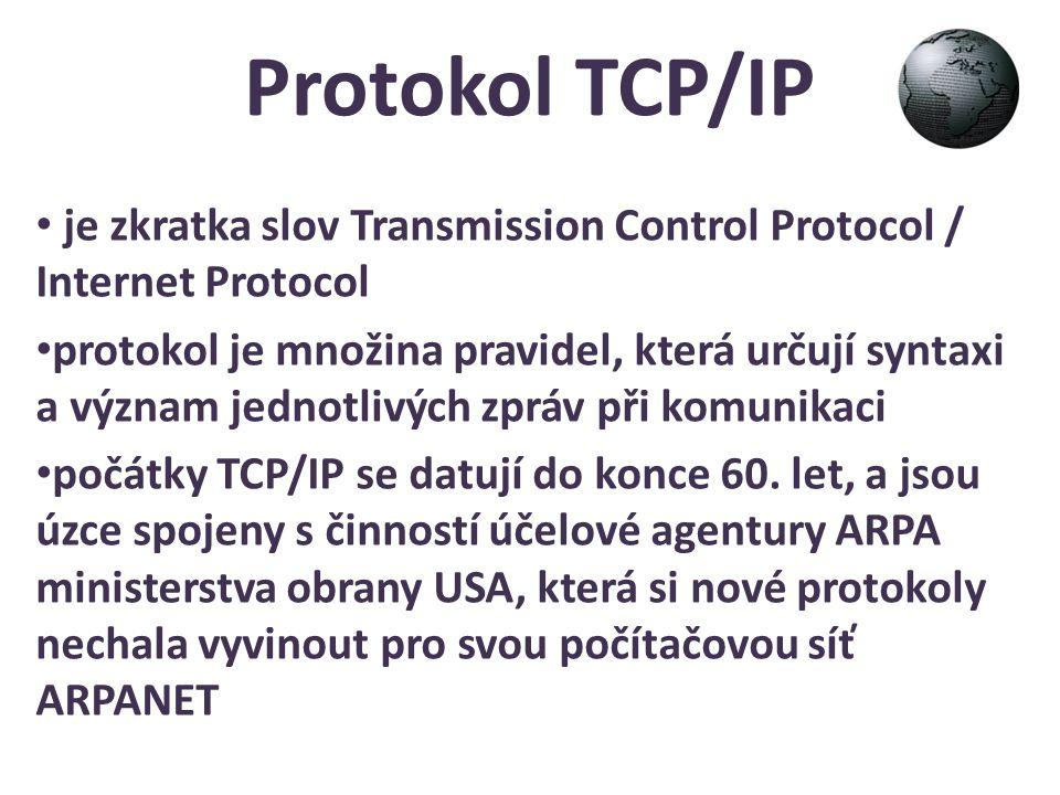 Protokol TCP/IP je zkratka slov Transmission Control Protocol / Internet Protocol protokol je množina pravidel, která určují syntaxi a význam jednotli