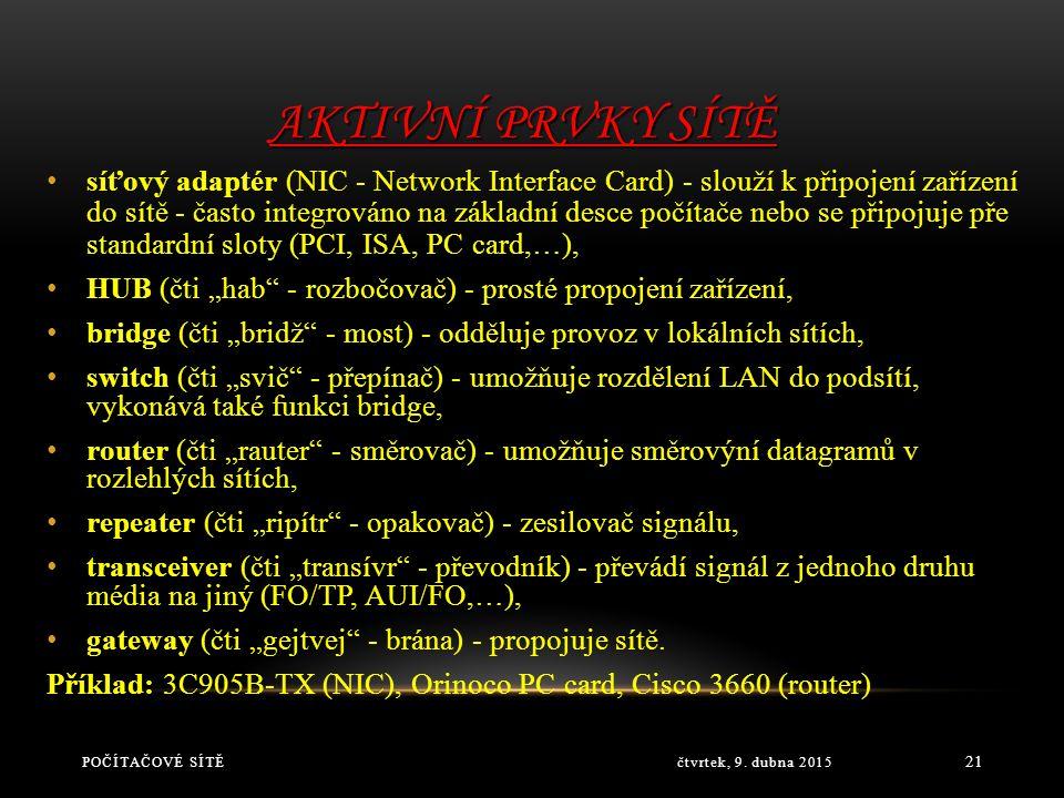 PASIVNÍ PRVKY SÍTĚ čtvrtek, 9. dubna 2015POČÍTAČOVÉ SÍTĚ 20 fyzické propojení počítačů (kabeláž - metalická, optická, bezdrátové - infračervené, mikro