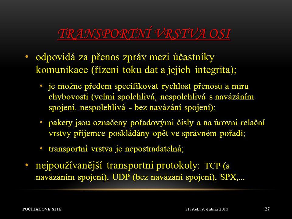 SÍŤOVÁ VRSTVA OSI čtvrtek, 9. dubna 2015POČÍTAČOVÉ SÍTĚ 26 má za úkol vytvořit podmínky pro komunikaci mezi stanicemi, které spolu nejsou přímo propoj