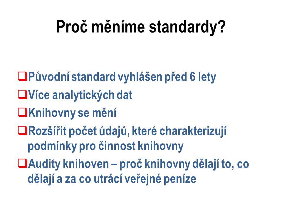 Proč měníme standardy?  Původní standard vyhlášen před 6 lety  Více analytických dat  Knihovny se mění  Rozšířit počet údajů, které charakterizují