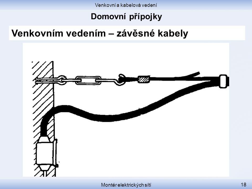 Venkovní a kabelová vedení Montér elektrických sítí 18 Venkovním vedením – závěsné kabely