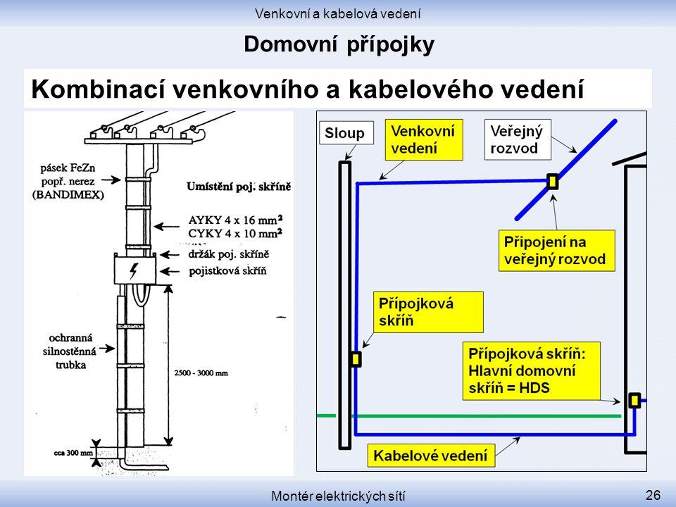 Venkovní a kabelová vedení Montér elektrických sítí 26 Kombinací venkovního a kabelového vedení