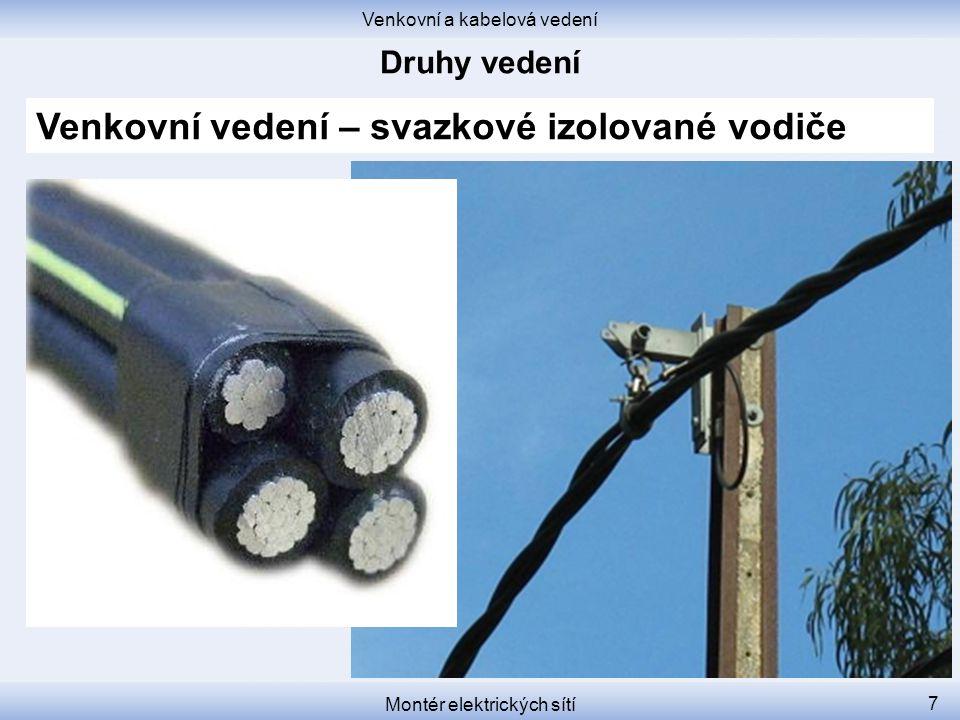 Venkovní a kabelová vedení Montér elektrických sítí 7 Venkovní vedení – svazkové izolované vodiče