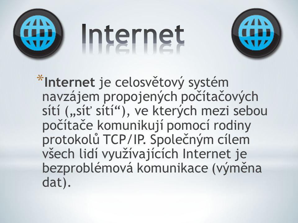 """* """"Celosvětová pavučina * Nejznámější službou poskytovanou v rámci Internetu je WWW (kombinace textu, grafiky a multimédií propojených hypertextovými odkazy) a e-mail."""
