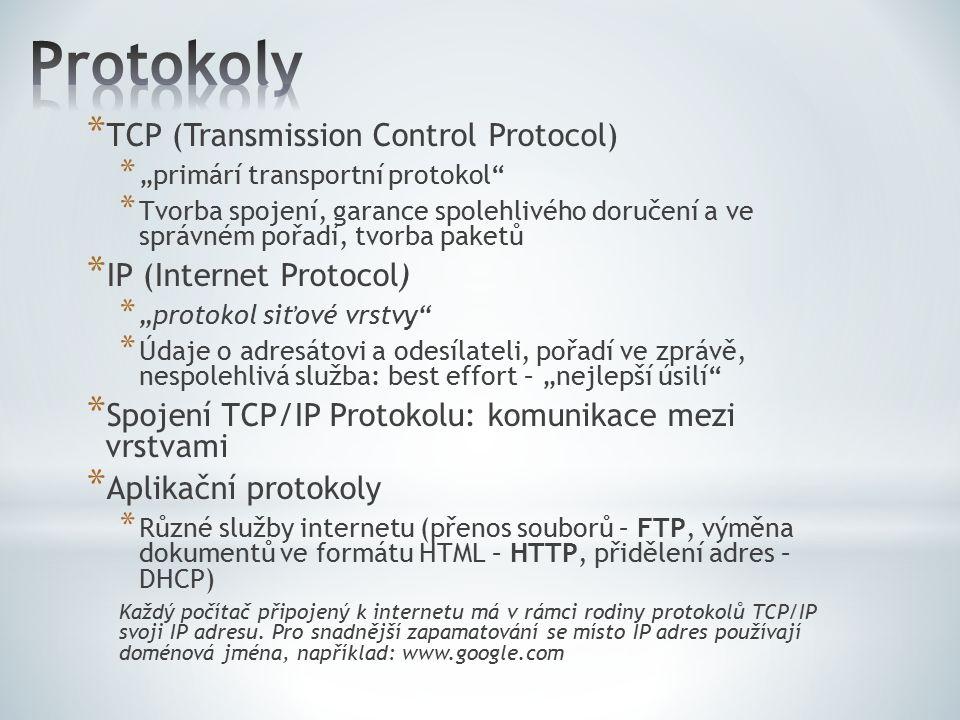 """* TCP (Transmission Control Protocol) * """"primárí transportní protokol"""" * Tvorba spojení, garance spolehlivého doručení a ve správném pořadí, tvorba pa"""
