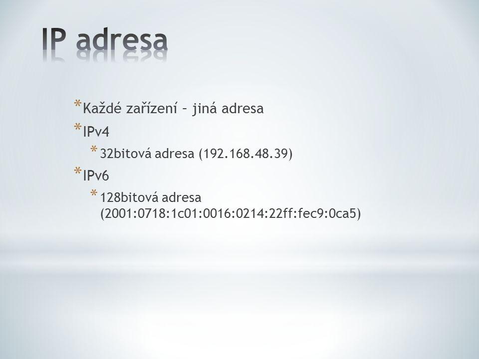 * Každé zařízení – jiná adresa * IPv4 * 32bitová adresa (192.168.48.39) * IPv6 * 128bitová adresa (2001:0718:1c01:0016:0214:22ff:fec9:0ca5)