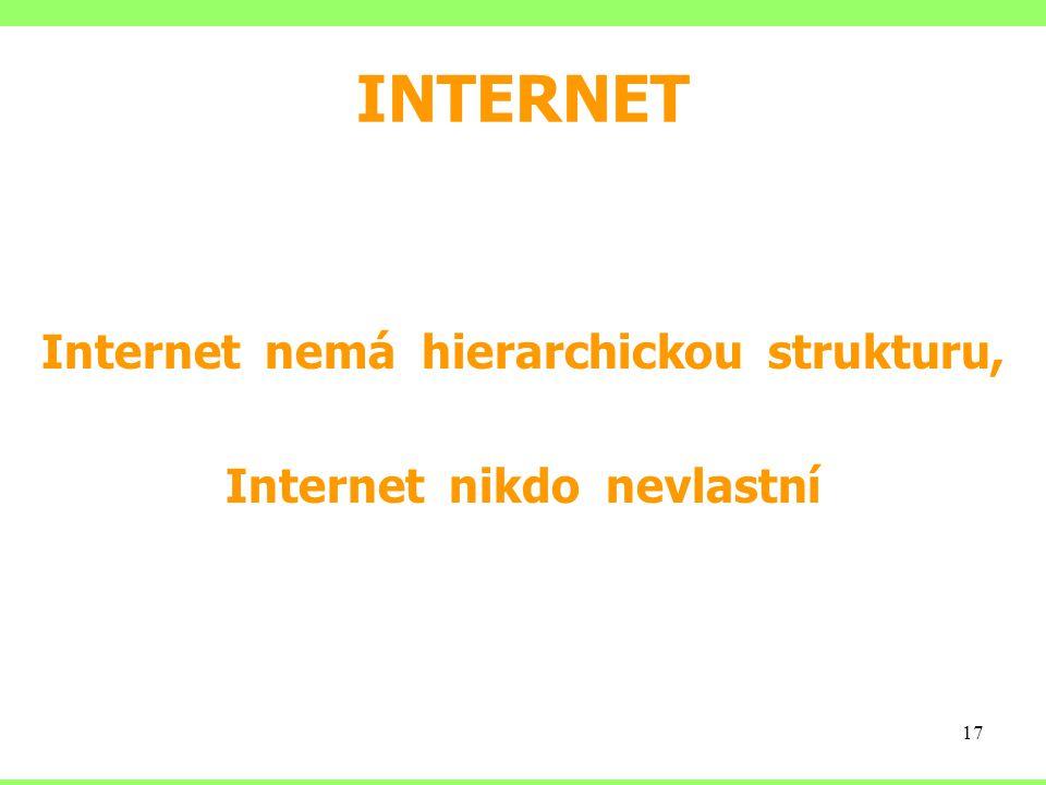 INTERNET Internet nemá hierarchickou strukturu, Internet nikdo nevlastní 17