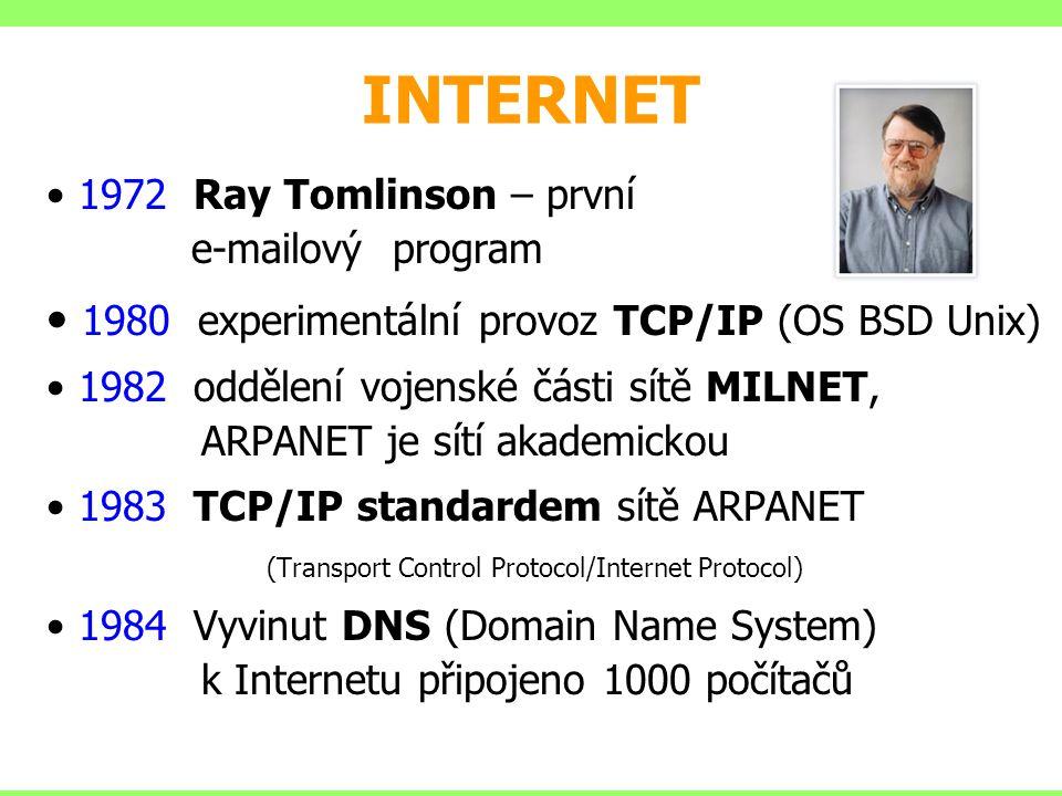 INTERNET 1972 Ray Tomlinson – první e-mailový program 1980 experimentální provoz TCP/IP (OS BSD Unix) 1982 oddělení vojenské části sítě MILNET, ARPANE