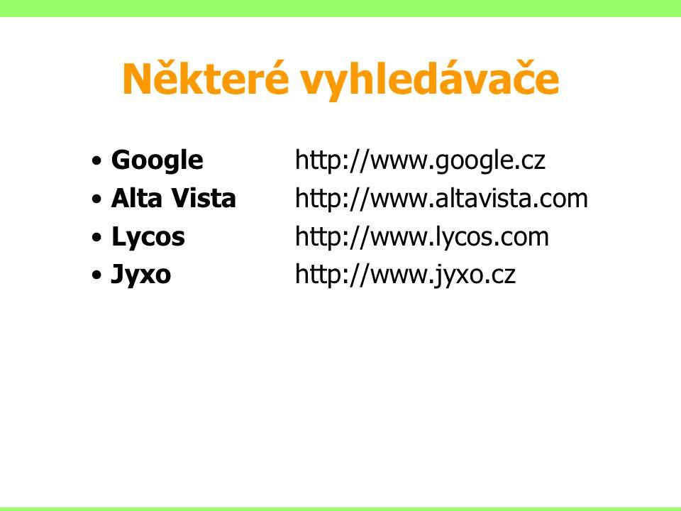 Některé vyhledávače Googlehttp://www.google.cz Alta Vistahttp://www.altavista.com Lycoshttp://www.lycos.com Jyxohttp://www.jyxo.cz