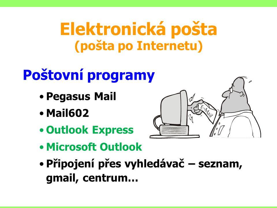 Elektronická pošta (pošta po Internetu) Poštovní programy Pegasus Mail Mail602 Outlook Express Microsoft Outlook Připojení přes vyhledávač – seznam, g